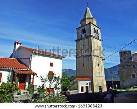 The bell tower of the Parish Church of St. Anthony the Abbot, Krsan - Istria, Croatia (Zvonik zupne crkve sv. Antuna opata, Krsan - Istra, Hrvatska) Zdjęcia stock ©