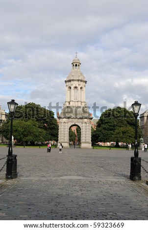 The Bell Tower on the Campus of Trinity College in Dublin, Ireland.