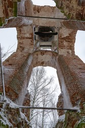 the bell tower was destroyed inside , Arkhangelsk Church of the churchyard Plec Galichsky district, Kostroma province, Russia