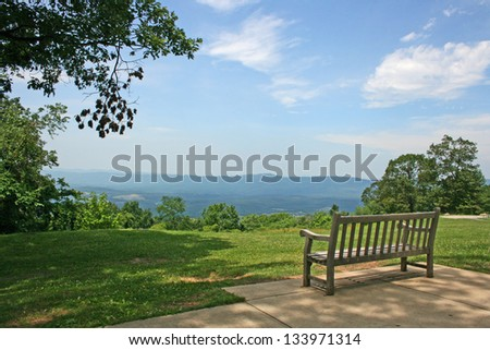 The Bench with the view at Shenandoah Valley, Virginia (made from Shenandoah National Park)