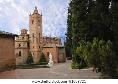 The Benedictine Abbey of Monte Oliveto Maggiore, large monastery in Tuscany, Italy