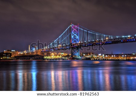 The Benjamin Franklin Bridge, originally named the Delaware River Bridge, is a suspension bridge across the Delaware River connecting Philadelphia, Pennsylvania and Camden, New Jersey. #81962563