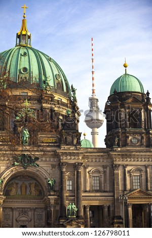 The Berlin Cathedral completed in 1905, is Berlin's largest and most important Protestant church. Berlin Cathedral in Berlin and tv tower at background, Germany.