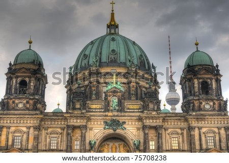 The Berlin cathedral - symbols of Berlin and Germany.  HDR composite (5 exposures) shots.