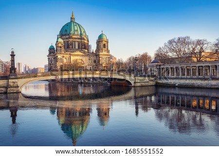 the berlin cathedral while sunset, germany ストックフォト ©