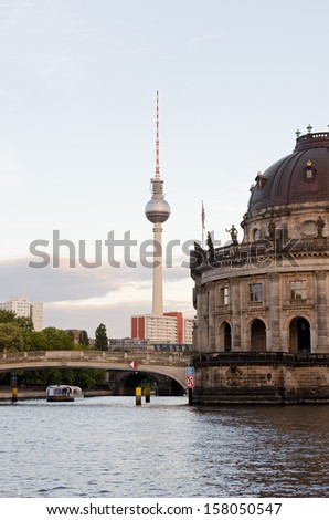 The Berlin museum island with bode museum and the TV tower in the background.