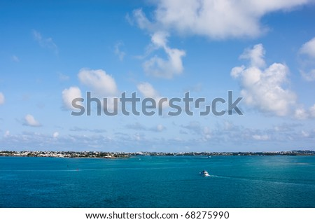 The Bermuda Coastline. View is from the ocean looking towards the coast.