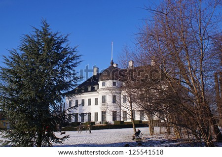 The Bernstorff Palace, in Gentofte on a sunny winter day, was built in the middle of the 18th century