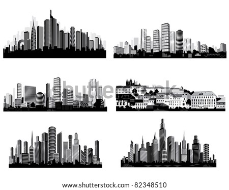 The best  City silhouettes. Set.