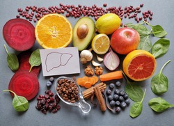 The best foods for liver health. Liver detox super food after alcohol and over eating. Healthy foods for healthy liver. Concept of liver disease diet. Avocado, coffee, beetroot, blueberry, cranberry..