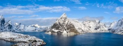 The best landscape in the winter of Lofoten, Norway.Aerial Photohraphy.