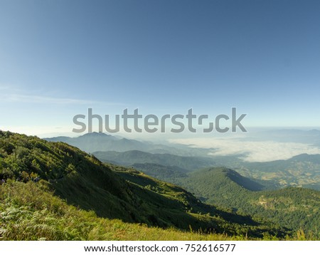 The best mountain climbing, The top of highest mountain in the north of Thailand.