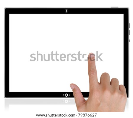 The best PC tablet computer and hand pushing a button on a touch screen interface.