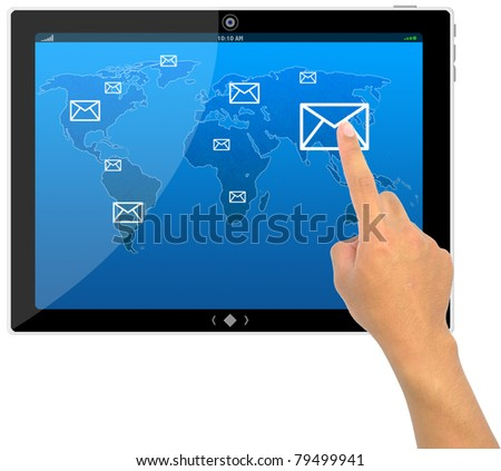 The best PC tablet computer and hand pushing a e-mail button on a touch