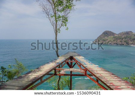 The best photo place on the hill at Watu Bale Beach, Kebumen, Central Java, Indonesia
