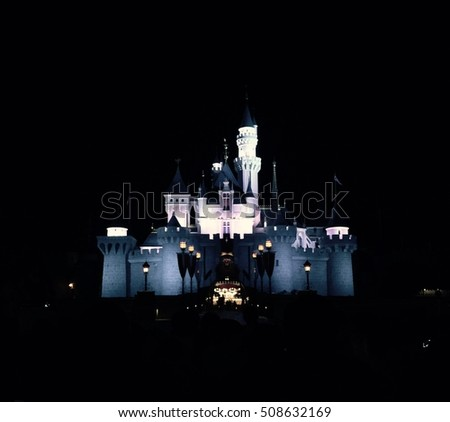 the best popular Dark castle amusement, night landmark disneyland, travel in holiday