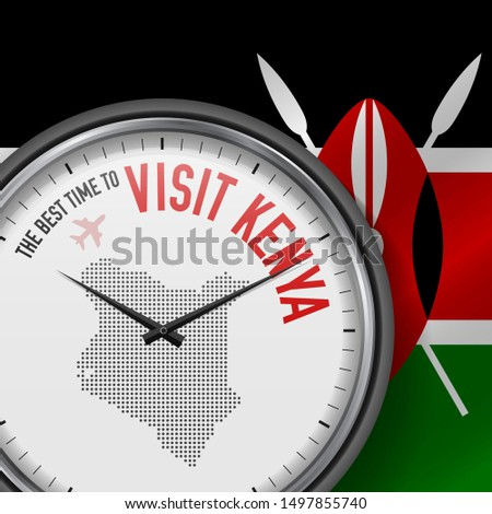 The Best Time to Visit Kenya. Travel to Kenya. Tourist Air Flight. Waving Flag Background and Dots Pattern Map on the Dial. Illustration.