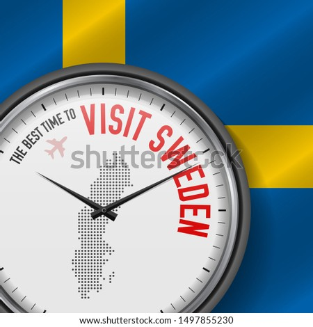 The Best Time to Visit Sweden. Travel to Sweden. Tourist Air Flight. Waving Flag Background and Dots Pattern Map on the Dial. Illustration.