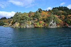 The best timing autumn leaves scenery of Lake Towada seen from pleasure cruiser at Aomori