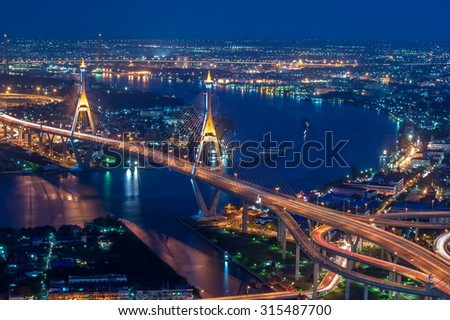 The Bhumibol Bridge also known as the Industrial Ring Road Bridge,Bangkok, Thailand. #315487700