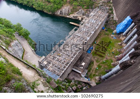 The Bhumibol Dam(formerly known as the Yanhi Dam) in Thailand. The dam is situated on the Ping River and has a capacity of 13,462,000,000 cubic meter.