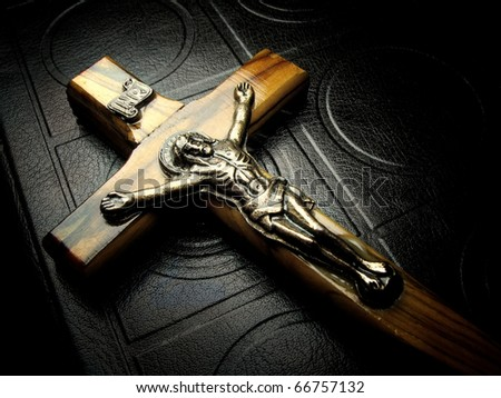 The bible and wooden crucifix