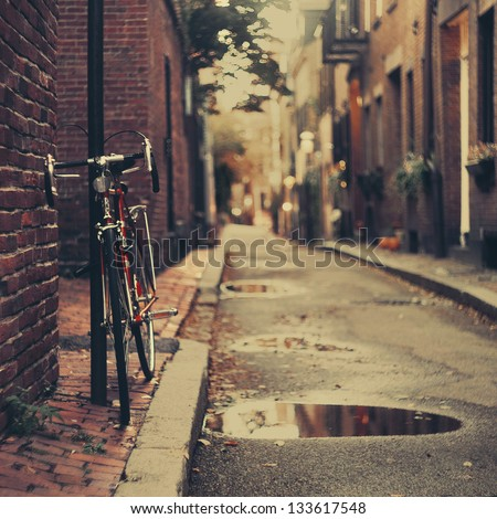 The bicycle in Boston. - stock photo