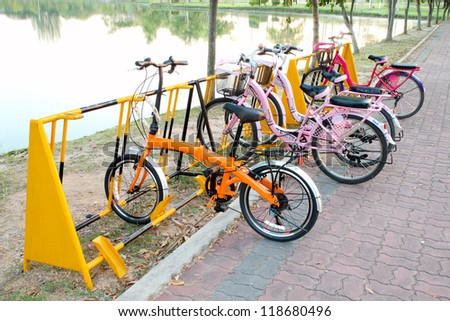 the bicycles parking in the park