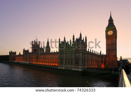 The Big Ben and the House of Parliament at twilight, London, UK.
