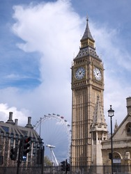 The Big Ben clock tower is part of the structure of the Houses of Parliament in London. The London Eye is Europe's tallest ferris wheel.
