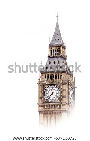 The Big Ben, London, England isolated in the mist