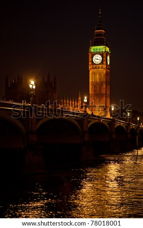 The Big Ben or Clock Tower of Westminster Palace seen from the distance at night