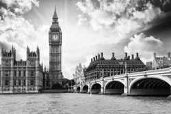 The Big Ben, the Houses of Parliament and Westminster Bridge in London.