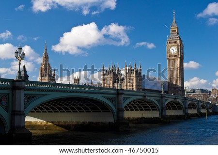 The Big Ben , the Houses of Parliament and Westminster Bridge in London in a beautiful day
