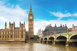 The Big Ben, the Houses of Parliament and Westminster bridge in London in a beautiful summer day, England, United Kingdom