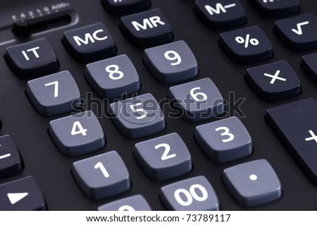 The big black calculator - keypad background close-up