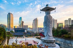 The Big Buddha in Bongeunsa Temple - Seoul, South Korea.