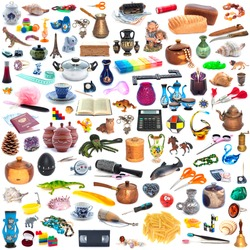 The big collection of different objects isolated on white background. Full size.