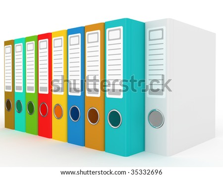 The big colour folders located on a white background