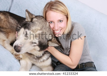 The big dog and the woman