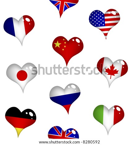 The Big Eight flags in form of hearts (seamless wallpaper).