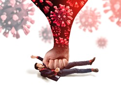 The big fist with coronavirus bring down the man off his feet. Concept of unexpected problems in business  due to coronavirus pandemic.