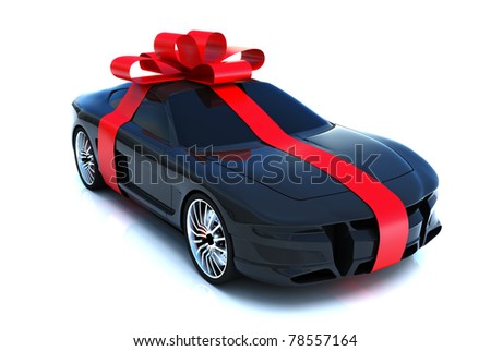The big gift, sports car with bow, isolated on a white background,Part of a gift car series. 300 D.P.I 3D  model