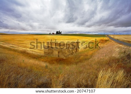 The big haystack on an autumn floor after harvesting. Other photos of autumn fields of Montana can be seen in my portfolio