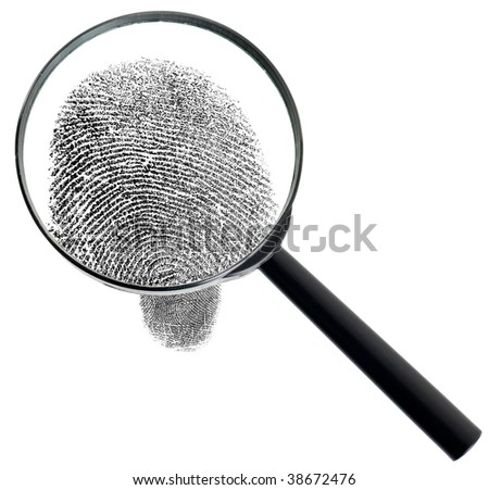 The big magnifier and fingerprint isolated on a white background - stock photo