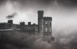The big old stone Castle on the Rock - spooky picture