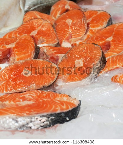 The big pieces of red fish  in the fish market
