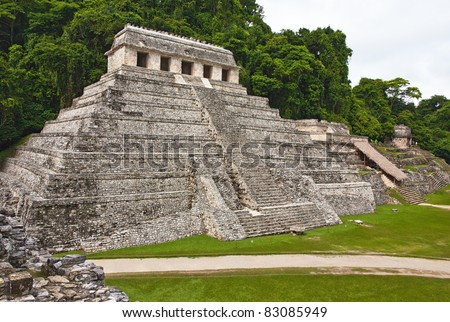 The big pyramid in Palenque, Mexico