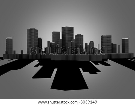 The big skyscrapers with a shadow