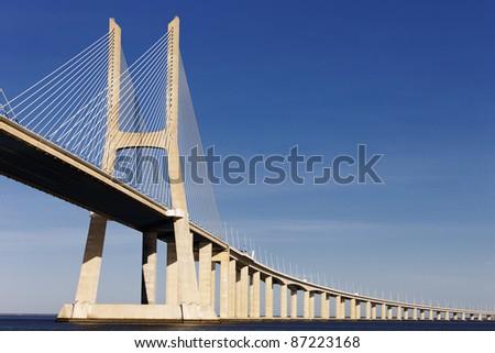 The big Vasco da Gama bridge in Lisbon